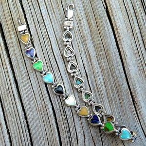 Vintage 925 Navajo Gemstone Heart Link Bracelet